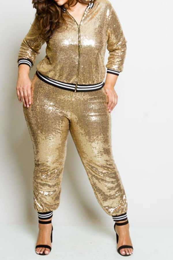 "51c9321ea363f ""Go for the Gold"" Two-Piece Sequin Sporty Jumpsuit"