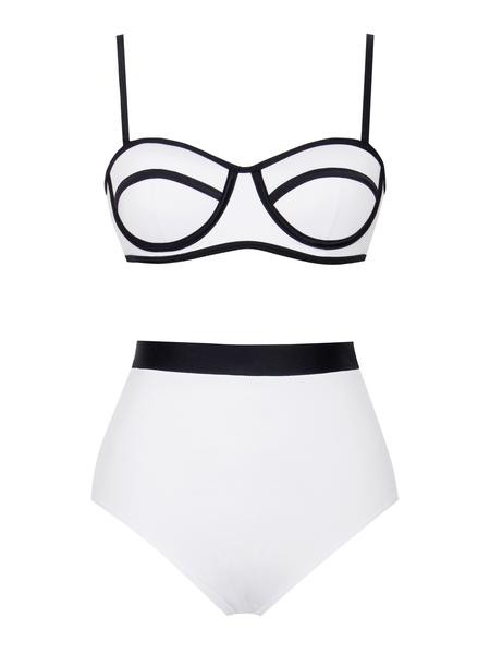 336f54ff792a8 Two-Piece High Waisted Color Block Swimsuit